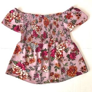 Monteau Pink Floral Off-Shoulder Smocked Blouse